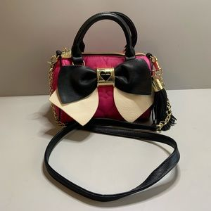 Betsey Johnson pink quilted heart sactchel bag